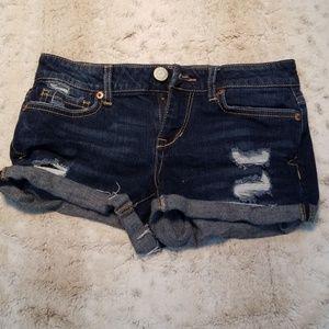 Aeropostale Distressed Dark Blue Jean Shorts
